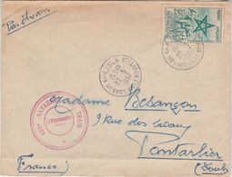 Enveloppe 1957 / Meknes Ville Nouvelle Maroc / Cachet 554° Bataillon Du Train / Pour Pontarlier 25 Doubs - Army & War