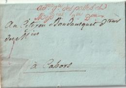 """Lettre De PARIS Pour CAHORS En FRANCHISE """"Administration Générale Des Postes Et Messageries 2ème Division"""" En Rouge - Postmark Collection (Covers)"""