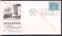 UN - 1960 - New York - 15th Anniversary 1945-1960 - Cygnus - Oblitérés