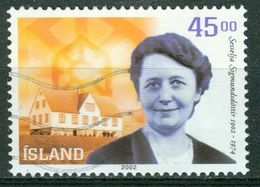 Bm Iceland 2002 MiNr 1011 Used | Birth Centenary Of Sesselja H. Sigmundsdottir (mental Health Pioneer) - 1944-... Republic