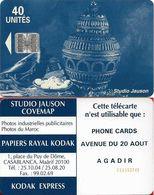 Morocco - Studio Jauson (Blue) - Phone Cards, Avenue Du 20 Aout, Agadir, Cn. C5Axxxxxx SMALL, (NO Innovatron), 40Units, - Maroc