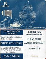Morocco - Studio Jauson (Blue) - Phone Cards, Avenue Du 20 Aout,Agadir, Cn. C5Axxxxxx BIG, (NO Innovatron), 40Units, Use - Maroc