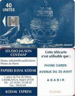 Morocco - Studio Jauson (Blue) - Phone Cards, Avenue Du 20 Aout, Agadir, Cn. C5Cxxxxxx, (NO Innovatron), 40Units, Used - Maroc