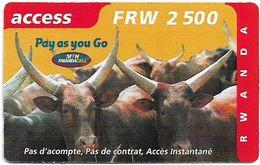 Rwanda - MTN RwandaCell - Cattles, Pay As You Go, Exp. 15.02.2002, 2.500RF, Used - Rwanda