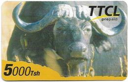 Tanzania - TTCL Prepaid - Buffalo, Exp. 14.05.2009, Long Barcode, Remote Mem. 5.000Tsh, Used - Tanzania