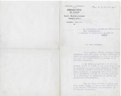 Lettre 1924 Commissaire Police PARIS MONTPARNASSE à Commissaire Police De TARBES - Polizei