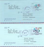 South Korea 2 Aerograms 1970-90 - Korea, South