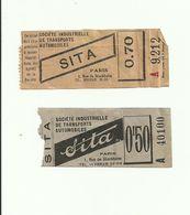2 Tickets Anciens. S.I.T.A. (Société Indiustrielle De Transports Automobiles). Ile De France. Voir Description - Bus