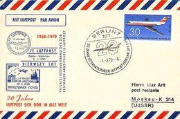 Mit Luftpost Berlin Moskau 20 Jahre 1970 Aviation - Avions