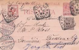 Italy Postcard Risposta 1907 - Marcofilie