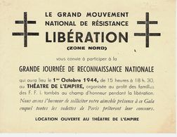 1944 LIBERATION GRAND MOUVEMENT NATIONAL DE LA RESISTANCE GRANDE JOURNEE PARIS - Historical Documents