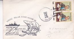 USCGC POLAR STAR - WAGB - 10, ARCTIC WEST WINTER - 82. USA ENVELOPEE ANNEE 1982, SIGNEE J.F. SMITH -LILHU - Polar Philately