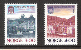 Norway 1989 Town Jubilees, Vardø And Hammerfest, Mi 1015-1016, MNH(**) - Norway
