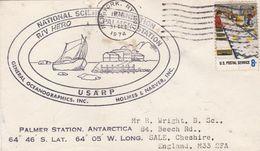NATIONAL SCIENCE POUNDATION, R/V HERO, PALMER STATION ANTARCTIC. USA ENVELOPEE CIRCULEE ANNEE 1974 -LILHU - Polar Philately