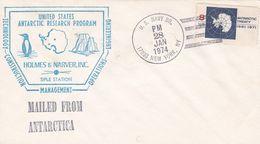 UNITED STATES ANTARCTIC RESEARCH PROGRAM, HOLMES & NARVES INC SIPLE STATION. USA ENVELOPEE ANNEE 1974 -LILHU - Polar Philately