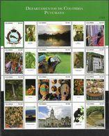 COLOMBIA, 2019, MNH,DEPARTAMENTOS DE COLOMBIA, PUTUMAYO, BIRDS, PARROTS, COAT OF ARMS, MASKS, SEAFOOD, WATERFALLS, SLT - Pappagalli & Tropicali