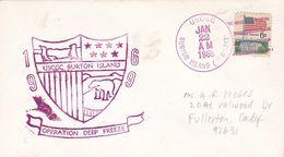 OPERATION DEEP FREEZE ANTARCTIC. USCGC BURTON ISLAND. USA ENVELOPEE ANNEE 1969 -LILHU - Polar Philately