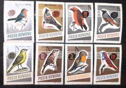 Singing Birds Romania 1966 Set 8v. Mnh - Songbirds & Tree Dwellers