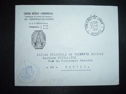 LETTRE CENTRE MEDICO CHIRURGICAL MARECHAL DE LATTRE DE TASSIGNY OBL.23-4 1966 FONTENAY LE COMTE VENDEE (85) - Marcofilia (sobres)