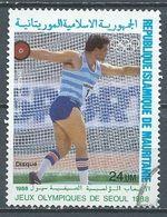 Mauritanie Poste Aérienne YT N°260 Jeux Olympiques De Séoul 1988 Lancer Du Disque Oblitéré ° - Mauritania (1960-...)