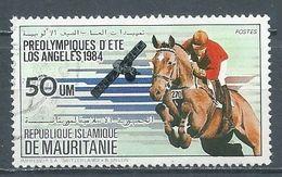 Mauritanie YT N°537 Préolympiques D'été Los Angeles 1984 Hippisme Oblitéré ° - Mauritania (1960-...)