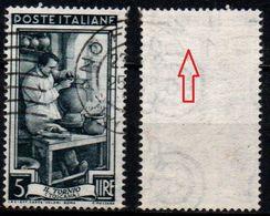 Italia Al Lavoro Con Filigrana Lettere - 5 Lire Ruota 3° SA - 1946-.. République
