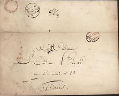 1825 Marque Forfaitaire Des Imprimés Déposés En Nombre PER. FRA. PARIS Oval Rouge Faire-part Mariage Pour Mme Herold - 1801-1848: Précurseurs XIX