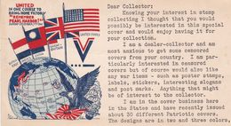 """""""REMEMBER PEARL HARBOR!"""" FIRST ANNIVERSARY, YEAR 1942. UNITED STATE, PATRIOT CARD WWII, NOT CIRCULATED -LILHU - Patrióticos"""