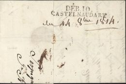 11 Aude 1814 Marque DEB. 10 CASTELNAUDARY (46x8) Noire Sur Lettre De Perpignan Pour Castres - 1801-1848: Précurseurs XIX