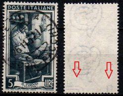 Italia Al Lavoro Con Filigrana Lettere - 5 Lire Ruota 3° DB - 1946-.. République