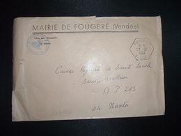 LETTRE MAIRIE OBL. HEXAGONALE 27-10 1966 FOUGERE VENDEE (85) - Marcofilia (sobres)