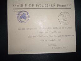 LETTRE MAIRIE OBL. HEXAGONALE 15-10 1964 FOUGERE VENDEE (85) - Marcofilia (sobres)