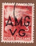 AMGVG028 AMG-VG 1945-47 SERIE DEMOCRATICA SOPRASTAMPATA LIRE 3 SASSONE NR 15 USATO - Usati