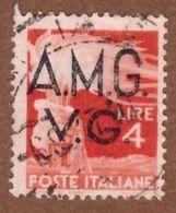 AMGVG029 AMG-VG 1945-47 SERIE DEMOCRATICA SOPRASTAMPATA LIRE 4 SASSONE NR 16 USATO - Usati