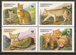 Tajikistan 2002 MiNr. 208 - 211  Tadschikistan ANIMALS Mammals Cats Of Prey Jungle Cat WWF 4v  MNH** 8,00 € - W.W.F.
