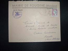 LETTRE MAIRIE TP MARIANNE DE DECARIS 0,25 OBL. HEXAGONALE 22-10 1964 FOUGERE VENDEE (85) - Marcofilia (sobres)