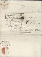 """93 Seine Et Oise Cachet D'essai """"Versailles 72/ 7 Février 1828"""" Pr Le Mesnil St Denis Taxe Manuscrite 2 Dos Dateur A - 1801-1848: Précurseurs XIX"""
