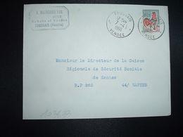 LETTRE TP COQ DE DECARIS 0,30 OBL.7-4 1966 FOUSSAIS VENDEE (85) A. MAINGAUD AUTOS - Marcofilia (sobres)