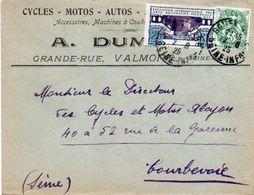 V7S  Enveloppe Timbrée Exposition Paris 1925 Courrier Lettre 76 Valmont A. Dumenil Cycles Motos Autos Tacots - Valmont