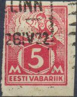 Estland, Mi.Nr. 37 B Ungezähnt Gestempelt, Schmied Am Amboss, 5 Mark - Estonia