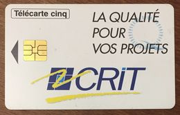 CRIT RECHERCHES RHONE-POULENC TÉLÉCARTE 5 UNITÉS RÉFÉRENCE PHONECOTE Gn152 PHONECARD PHONE CARD - France