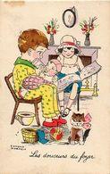 Edmond Sornein - Les Douceurs Du Foyer, Chat Pot De Chambre - Altre Illustrazioni