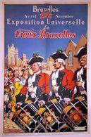 BRUXELLES, AVRIL 1935 NOVEMBRE EXPOSITION UNIVERSELLE LE VIEUX BRUXLLES, JAMES THIRIAR, POSTER, PLAKAT, DIMENSION 40X60 - Posters