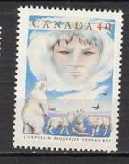 Canada, MNH, 1991, #1335, Ours Polaire, Polar Bear, Loup, Wolf, Légende De L'orphelin Inuit, Indiens D'amérique - Fauna ártica