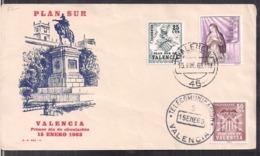 España - 1963 - FDC - Plan Sur De Valencia - Cygnus - FDC