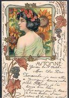 """E059 ART NOUVEAU """"AUTOMNE - AUTUMN"""" FEMME EPAULES Dénudées RAISINS Gaufrée NAKED SHOULDERS LADY GRAPES Embossed 1901 - Künstlerkarten"""