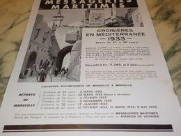 ANCIENNE PUBLICITE MESSAGERIES MARITIMES CROISIERES MEDITERRANES  1933 - Advertising