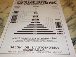 ANCIENNE PUBLICITE VEHICULES INDUSTRIEL CAMION UNIC  1933 - Camions