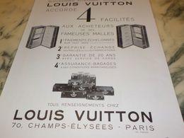 ANCIENNE PUBLICITE MALLE LOUIS VUITTON  1933 - Advertising