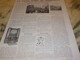 ANCIENNE PUBLICITE LA 27 FOIRE DE BORDEAUX COLONIAL  1933 - Advertising